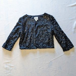 (2/$35 Deal) Black Sequin 3/4 Sleeve Cropped Cardi